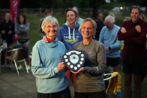 Sue Taylor receives the F45 shield at the 2021 Club Championship