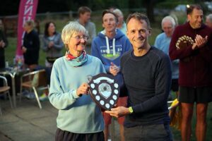 Colin Addison receives the M50 shield at the 2021 Club Championship