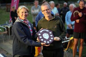 Terry Copeland receives the M60 shield at the 2021 Club Championship