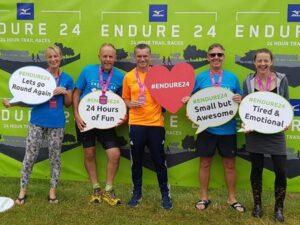 The Farnham 6 team at 2021 Endure24 - Sue Taylor, Craig Tate-Grimes,Harvey Wickham, Paul Mackie, Helen Farrell