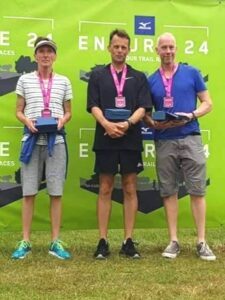 Keith Marshall, Rob Gilchrist, Mark Maxwell with their trophies at 2021 Endure24