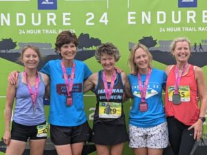 Dream Team with medals at 2021 Endure24 - Kate Townsend, Lindsay Bamford, Linda Tyler, Gill Iffland, Vicky Goodluck