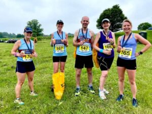 Gill Iffland, Becky Martin, Steve and Clair Bailey, Kate Townsend at the 2021 North Downs Trail Half Marathon
