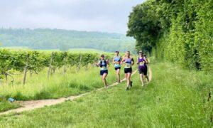 Farnham Runners running through vineyards in the Denbie's Wine Estate during the 2021 North Downs Trail Half Marathon