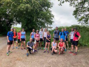 Farnham Runners group on their way back to Farnham along St. Swithuns Way during a training run