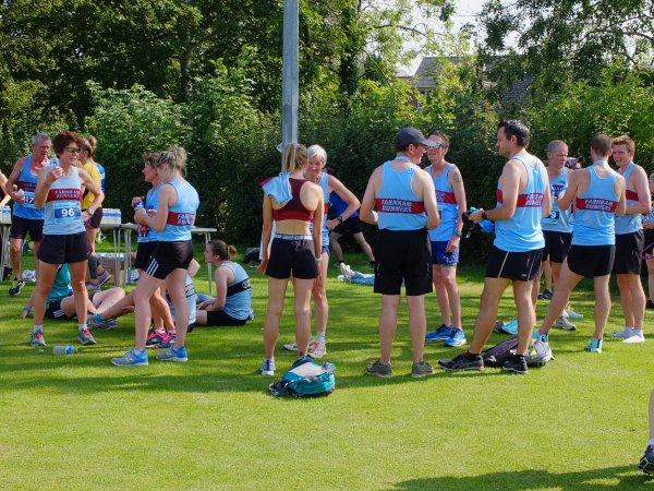 Farnham Runners mingling after the 2021 Overton 5